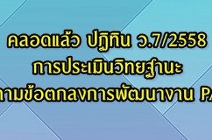 ปฏิทินประเมินวิทยฐานะเกณฑ์ pa ว.8 2558